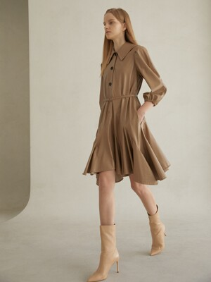 KAJA _ ECO LEATHER AND RUFFLE & VOLUME SLEEVE DRESS WITH BELTED