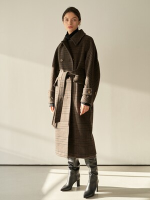 TTW CHECK DOUBLE WOOL COAT CHECK BROWN