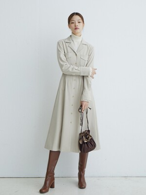 HYEHWA Notched collar dress (Cream)