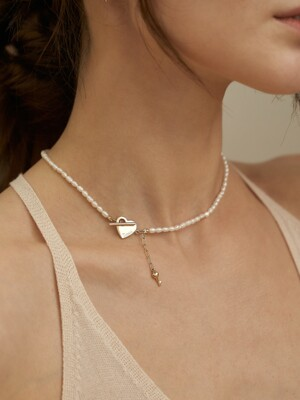 Heart toggle key point pearl necklace_NZ1102