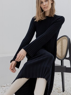 Wool Knit Maxi Dress_Black