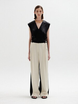 SAVONE Two-Tone Wide Pants - Ivory/Black