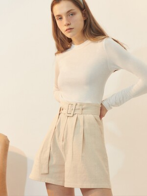 [BREEZE] Belted Short Pants_IVORY (CTD1)