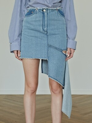 17FW ASYMMERTIC DENIM SKIRT (BLUE)