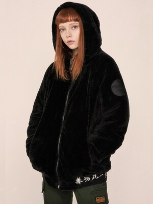 [XTONZ] XJ4 TURTLE NECK HOOD FUR JACKET