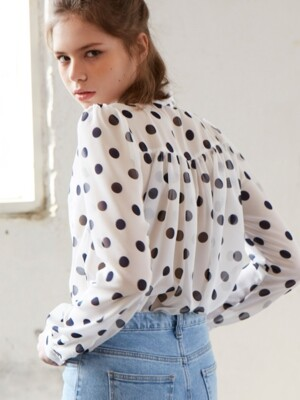 four season dot shirring blouse_navy