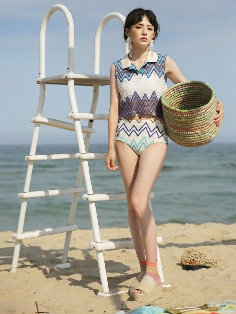 MH6 WAVE KNIT SWIMSUIT_BL