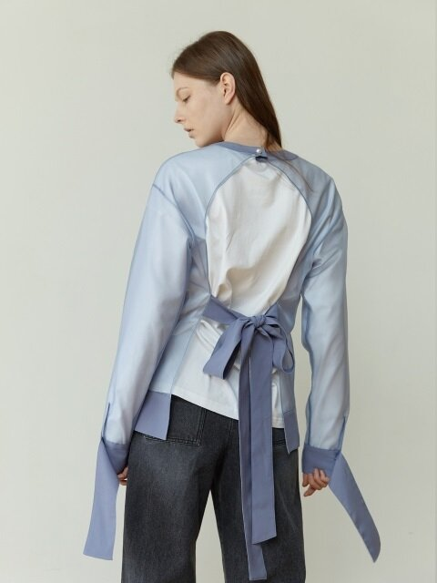 18FW BACKLESS ORGANZA TOP (GRAY BLUE)