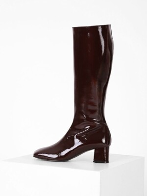 PATENT LONG BOOTS - WINE