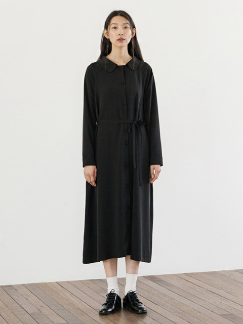 Round Collar Robe Dress - Black