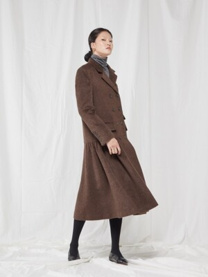 LONG JACKET DRESS _ BROWN