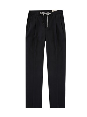 String band two tuck slacks (Charcoal)