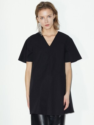 A-LINE HALF SLEEVE TOP BLACK