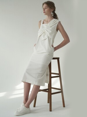 Ribbon H-line onepiece_Ivory