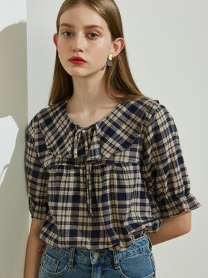 iuw440 Frill ribbon checked blouse (navy)