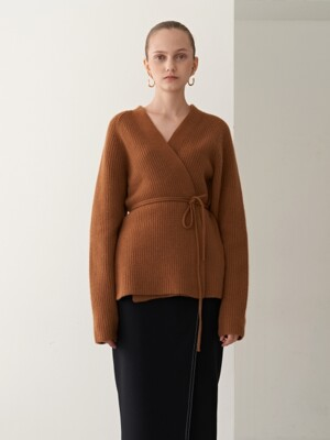 19FW CASHMERE BELTED KNIT CARDIGAN CAMEL