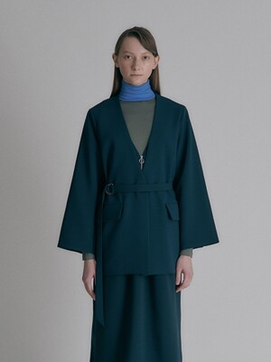 Belted long jacket_Dark Green