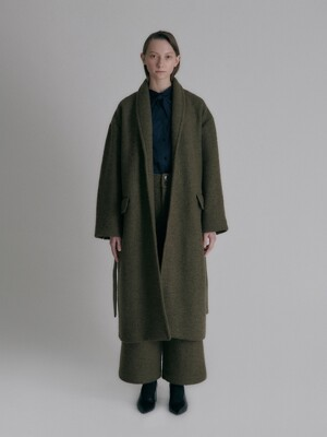 Long robe wool coat_Khaki