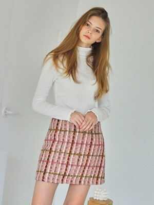 MTOF3 TWEED SKIRT(PINK)