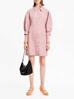 Short pink shirt dress_B205AWO017PK