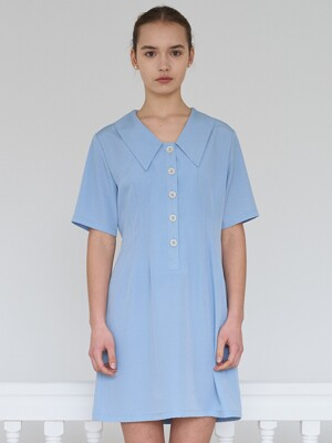 check V neck dress-light blue