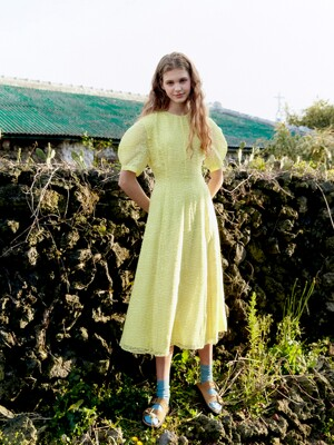 POSITANO Bishop short sleeve dress (Lemon)