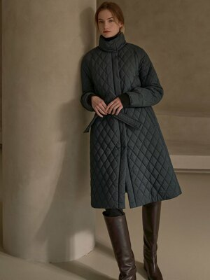 SI OT 4013 High neck Quilting Coat_Ebony navy
