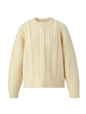 Embroidery cable angora knit pullover - Butter