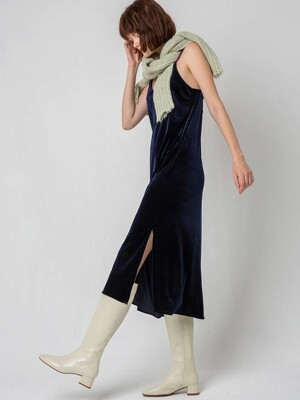 Color strap velvet dress_NAVY