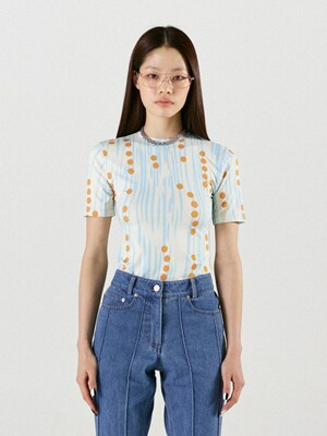 Signature Dot Print  Half Sleeve Top Blue Yellow