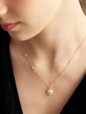 [14k gold filled] Mignon Pearl Point Necklace_NZ1141