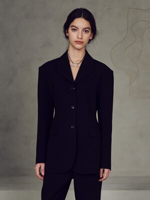Slim single jacket_Black