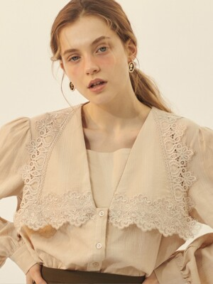 [BREEZE] Vintage Lace Cotton Blouse_BEIGE (CTD1)