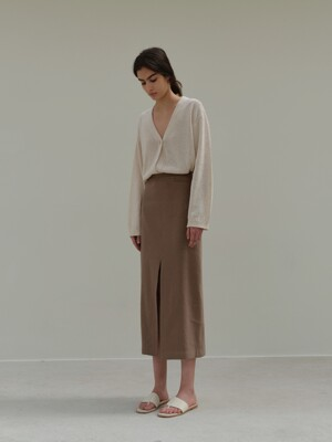 slit skirt (brown)