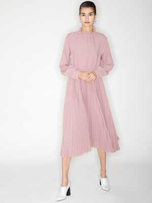 SHIRRING PLEATS DRESS_PINK