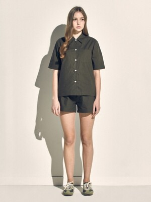 (W) Marilyn Short Sleeve PJ Set Poplin Olive