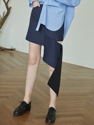 17FW ASYMMERTIC SKIRT (NAVY STRIPE)