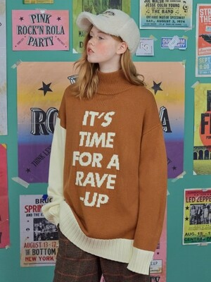 (TS-18713) LETTERING TURTLE-NECK KNIT CAMEL