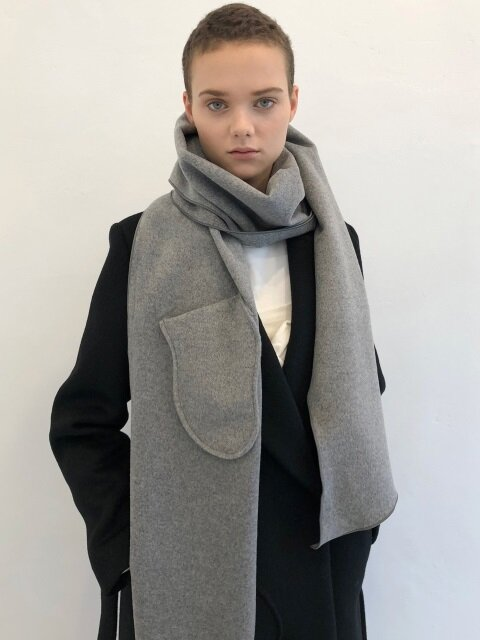 18 WINTER wool+cashmere pocket muffler (gray)