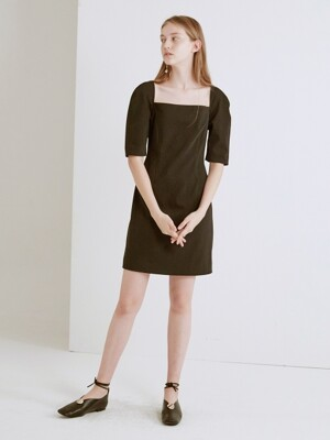 19SS SQUARE NECK VOLUME SLEEVE DRESS (BLACK)