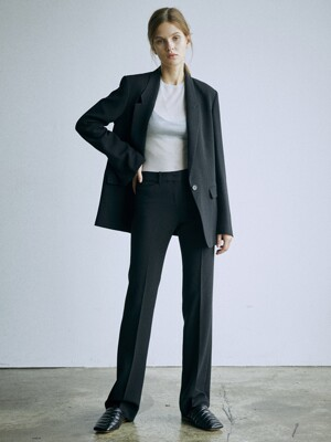 [Drama Signature] Blazer + Bootcut Trousers SET (BLACK)