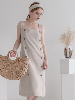 Overall Button Herringbone Dress Beige