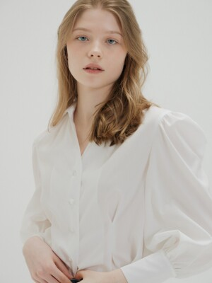 SHIRRING BELTED BLOUSE_WHITE
