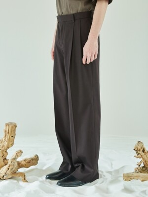 Wide-leg Cotton Trousers - Brown