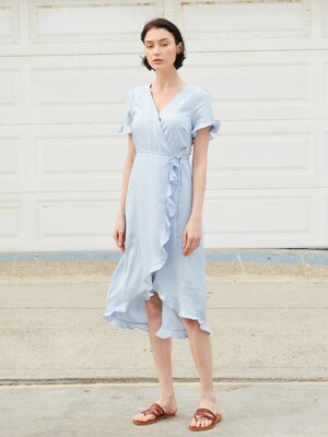 RUFFLED WRAP DRESS_SKY BLUE