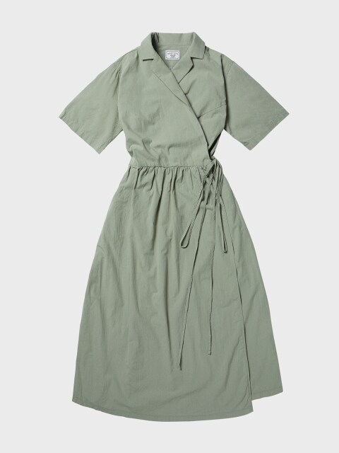 L19SS Cotton Wrap Dress (4 sl) #Khaki