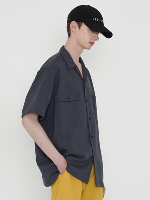 SOLID OPEN COLLAR SHIRT_CHARCOAL