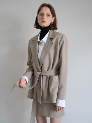 19FW BELTED COTTON JACKET (TAUPE)