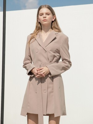 Double Jacket Belt Dress Beige