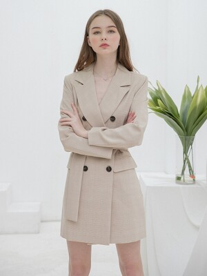 Check Jacket Belt Dress Beige